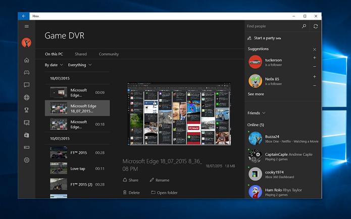 Ferramenta Game DVR vai gravar também a tela de aplicativos (Foto: Reprodução/TechAU)