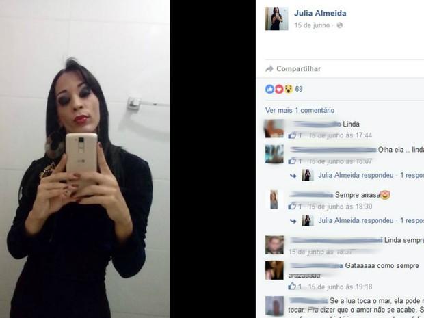 Julia Almeida, em foto postada nas redes sociais; vítima foi encontrada morta em canavial de Ituverava, SP (Foto: Reprodução/Facebook)