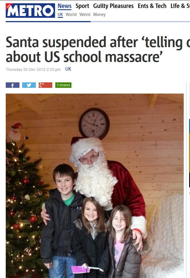 Papai Noel foi suspenso depois que contou às crianças sobre o massacre ocorrido na escola Sandy Hook (Foto: Reprodução)