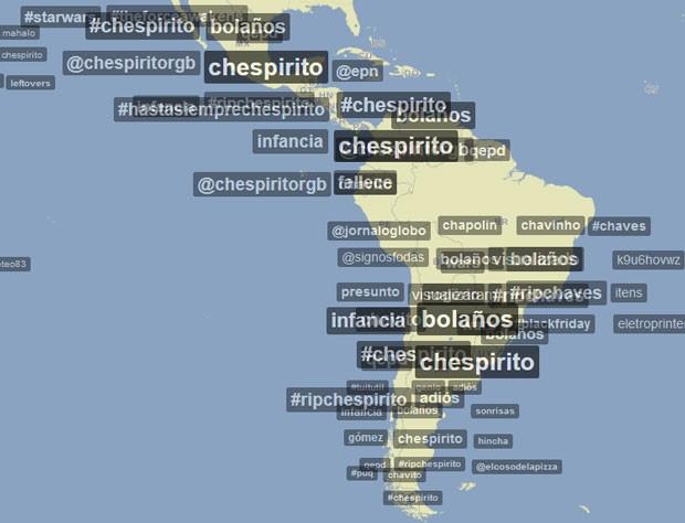 Trendsmap após o anúncio da morte de Roberto Bolanõs na América Latina (Foto: Reprodução)