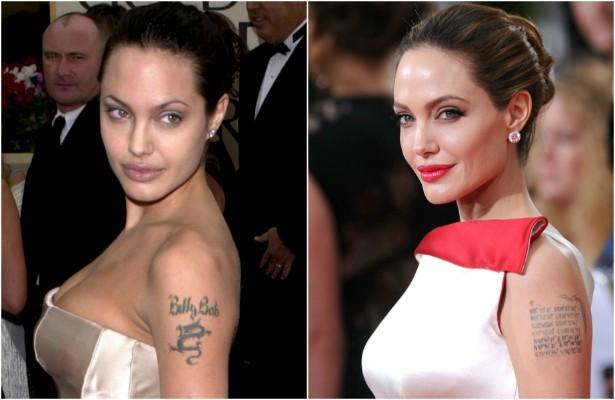 """Casada de 2000 a 2003 com o roteirista Billy Bob Thornton, Angelina Jolie não hesitou em tatuar o nome do amado no braço esquerdo. Após o divórcio, a atriz transformou completamente a """"tattoo"""": virou um conjunto de sete séries de algarismos. São as coordenadas dos locais de nascimento do atual marido, Brad Pitt, e dos seis filhos que têm juntos. (Foto: Getty Images)"""