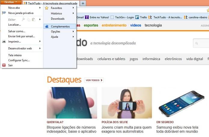 Acesse as extensões do Firefox (Foto: Reprodução/Carolina Ribeiro) (Foto: Acesse as extensões do Firefox (Foto: Reprodução/Carolina Ribeiro))