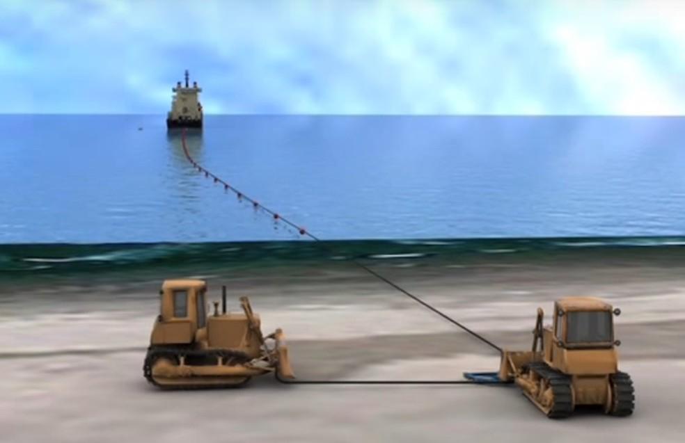 Cabo de fibra óptica será aterrado na orla do bairro Mirim, em Praia Grande (SP) (Foto: Reprodução/Alcatel/Telebras)