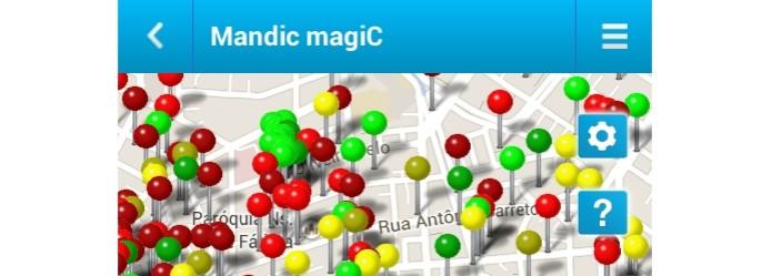 Mandic Magic exibe mapa com pontos de acesso Wi-Fi disponíveis (Foto: Reprodução/Paulo Alves) (Foto: Mandic Magic exibe mapa com pontos de acesso Wi-Fi disponíveis (Foto: Reprodução/Paulo Alves))