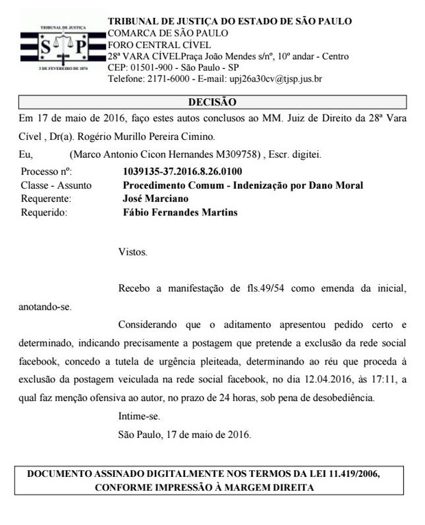 Processo de Marciano contra o filho (Foto: Reprodução)