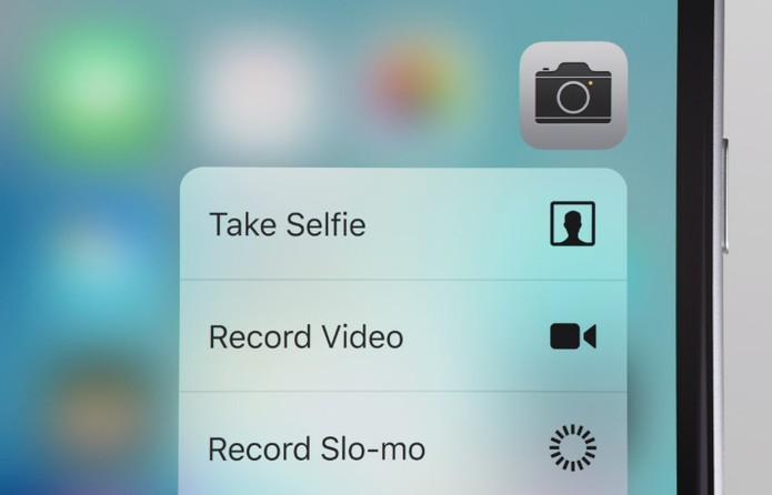 3D Touch oferece menu com opções avançadas no app de câmera (Foto: Divulgação/Apple)