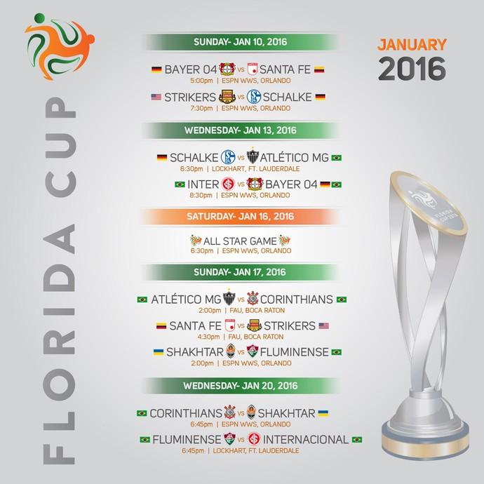 Tabela com horários da Florida Cup (Foto: Reprodução)