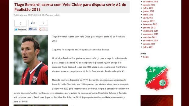 Velo Clube anuncia zagueiro Tiago Bernardi (Foto: Reprodução/ site Velo Clube)
