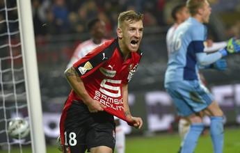 Brasileiro marca duas vezes e, Rennes se classifica na Copa da Liga da França