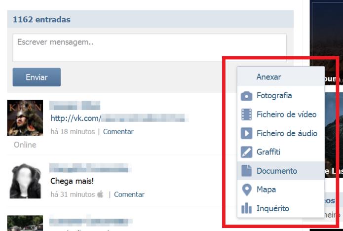 Recurso permite anexar arquivos, fotos e vídeos no post na comunidade do VK (Foto: Reprodução/Lívia Dâmaso)