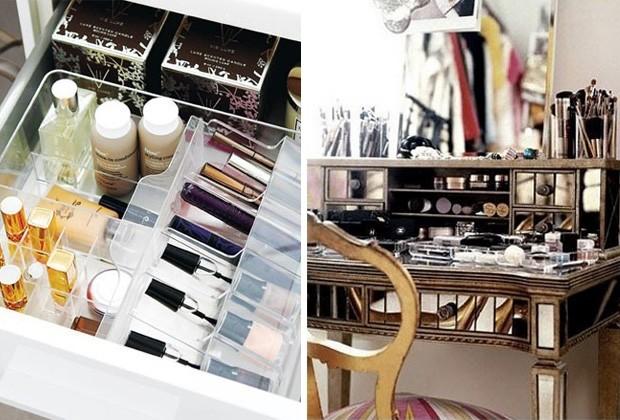 Uma boa dica é usar cestos para separar cada tipo de maquiagem (Foto: Pinterest)