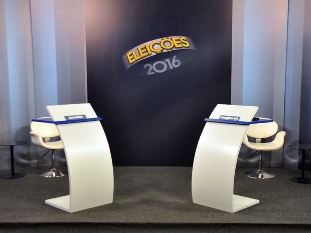 Estúdio debate 2º turno TV Morena Campo Grande (Foto: Fernando da Mata/G1 MS)