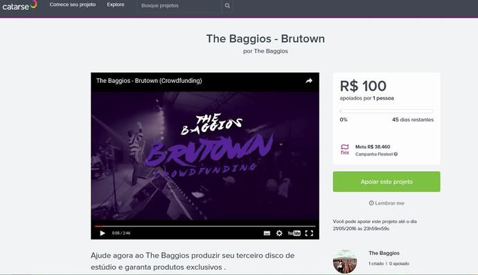 Visual da página para arrecadar fundos (Foto: Reprodução Internet)