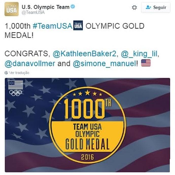 EUA comemoram milésima medalha de ouro em Olimpíadas nas redes sociais  (Foto: Reprodução twitter)