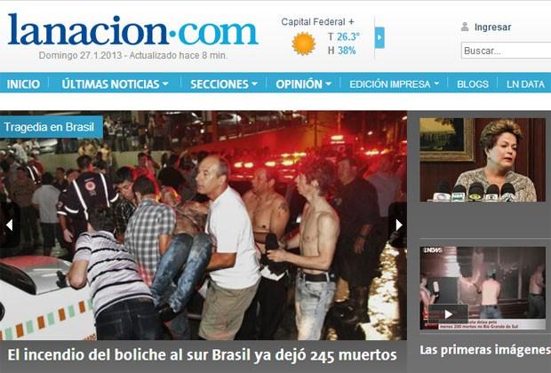 "O jornal argentino ""La Nación"" deu destaque ao caso (Foto: Reprodução)"