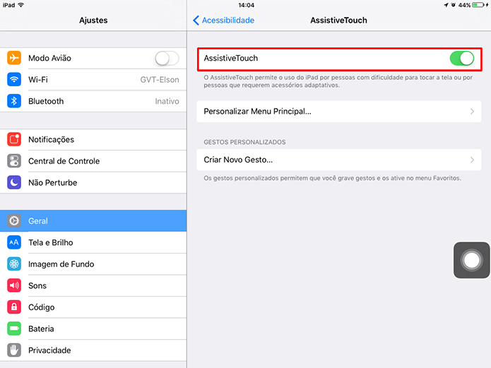 iOS 9 exibirá um botão com a ativação do AssistiveTouch (Foto: Reprodução/Elson de Souza)