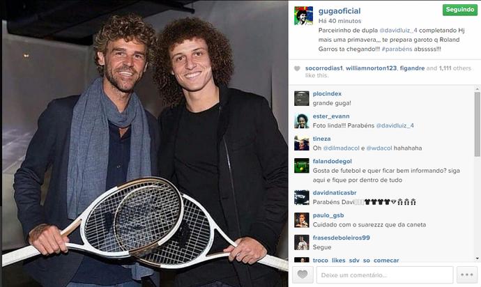 Gustavo Kuerten dá parabéns por aniversário de David Luiz (Foto: Reprodução / Instagram)