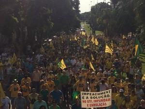 Manifestantes percorrem principal avenida de Campo Grande (Foto: Maria Caroline Palieraqui/G1 MS)