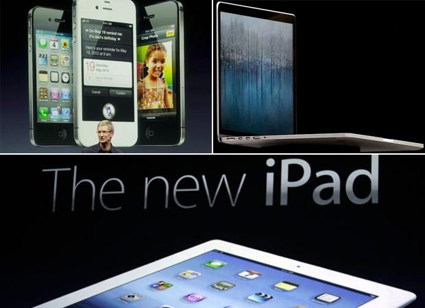 iPhone 4S, MacBook com Retina Display e Novo iPad: lançamentos da Apple (Foto: Reprodução)