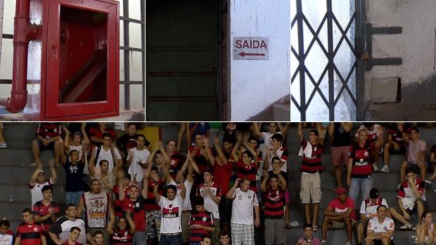 Engenheiro aponta problemas no Ginásio do Tijuca em jogo do Flamengo (Foto: Montagem SporTV)
