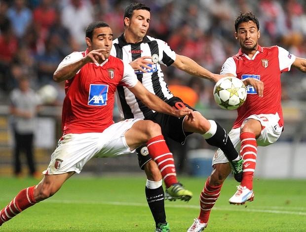 Antonio DiNatale, Ismaily, Helder Barbosa, Udinese x Braga (Foto: Agência AP)