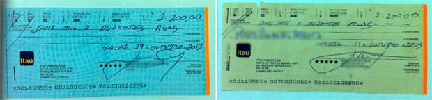 Cheques entregues pelas vítimas aos suspeitos foram apreendidos pela polícia (Foto: Anderson Barbosa/G1)
