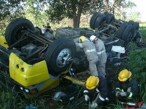 Motorista ficou ferido e carona morreu no acidente. (Foto: Divulgação / PRF)