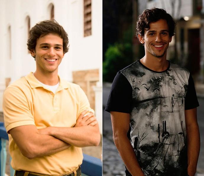 Ahmed como Fred, em 'Em Família'; e agora, como Zig, em 'Malhação' (Foto: Reprodução/EllenSoares/Gshow)