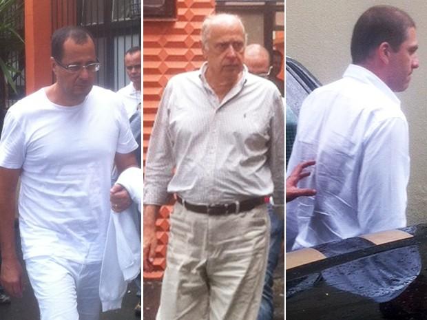 Condenados no mensalão, José Roberto Salgado, Romeu Queiroz e Vinicius Samarane deixam IML durante transferência para a Grande BH (Foto: Pedro Triginelli/G1)