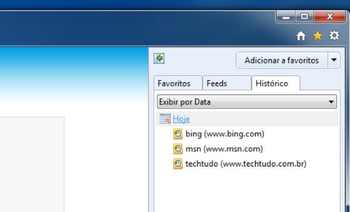 Histórico do Internet Explorer 9 (Foto: Reprodução/André Sugai)