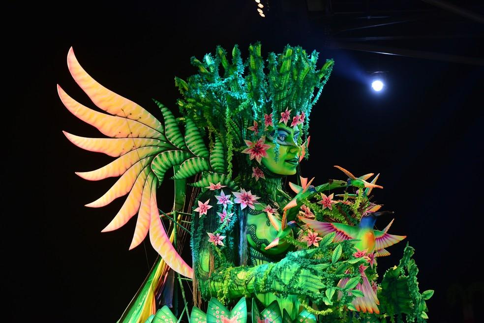 Detalhe de alegoria apresentada durante Festival de Parintins, no Amazonas (Foto: Joel Arthus/Secom)