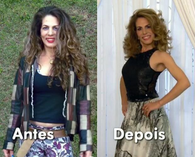 Antes e Depois de Carolina no Você Mais Poderosa (Foto: Mais Você / TV Globo)