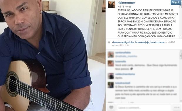 Rick anuncia fim da dupla com Renner em mensagem no perfil do Instagram oficial (Foto: Reprodução / Instagram)