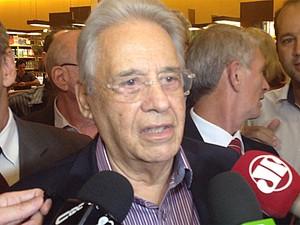O ex-presidente Fernando Henrique Cardoso durante lançamento de livro em São Paulo (Foto: Roney Domingos / G1)