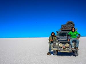 Foto tirada no Salar do Uyuni, o maior deserto de sal do mundo, localizado na Bolívia (Foto: Rafael Ávila/VC no G1)