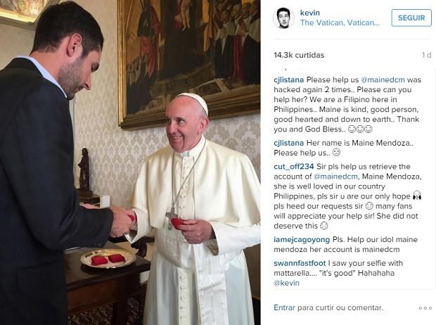CEO do Instagram em encontro com o papa Francisco (Foto: Reprodução / Instagram / Kevin Systrom)