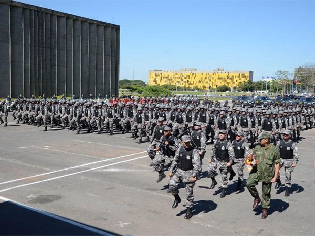 Profissionais capacitados pela Força Nacional para atuar na Copa do Mundo (Foto: Isaac Amorim/Agência MJ)