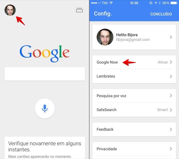 Acesse as configurações do aplicativo do Google (Foto: Reprodução/Helito Bijora)
