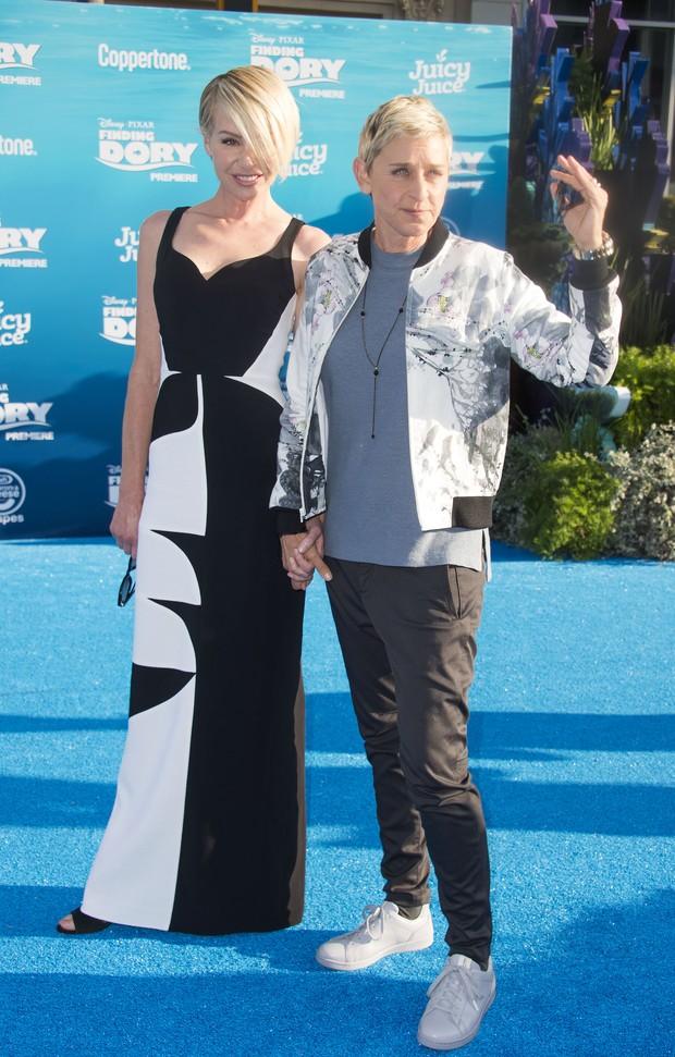 Portia de Rossi e Ellen DeGeneres em première de filme em Los Angeles, nos Estados Unidos (Foto: Valerie Macon/ AFP)