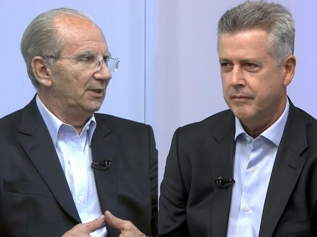 Candidatos ao governo do DF Jofran Frejat (PR) e Rodrigo Rollemberg (PSB) durante debate na TV Globo Brasília (Foto: TV Globo/Reprodução)