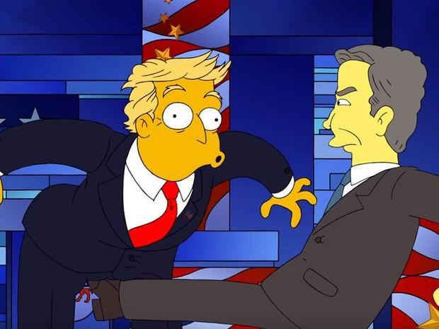 Jeb Bush acerta chute em Donald Trump em cena de 'Os Simpsons' (Foto: Reprodução/Youtube)