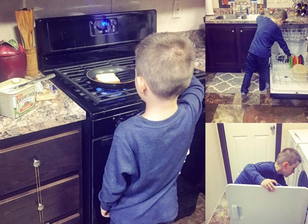 Aos 6 anos, Lyle ajuda a mãe em casa  (Foto: Reprodução/Facebook)
