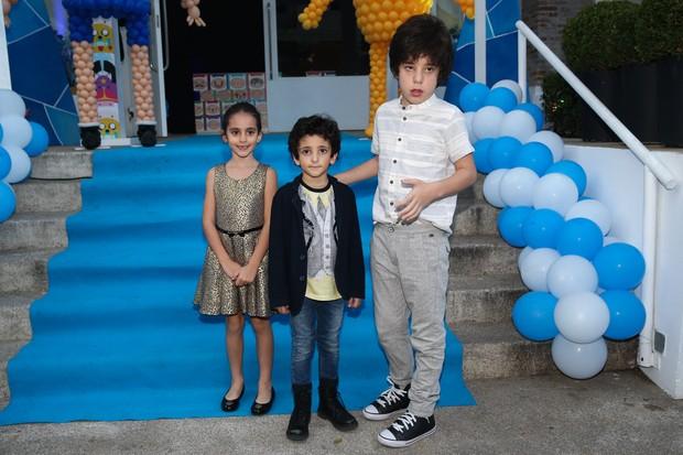 Donatella, Stefano e Romeu - filhos de Marcos Mion (Foto: Manuela Scarpa / Photo Rio News)