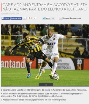 Adriano Imperador Atlético-PR (Foto: Site oficial do Atlético-PR/Divulgação)