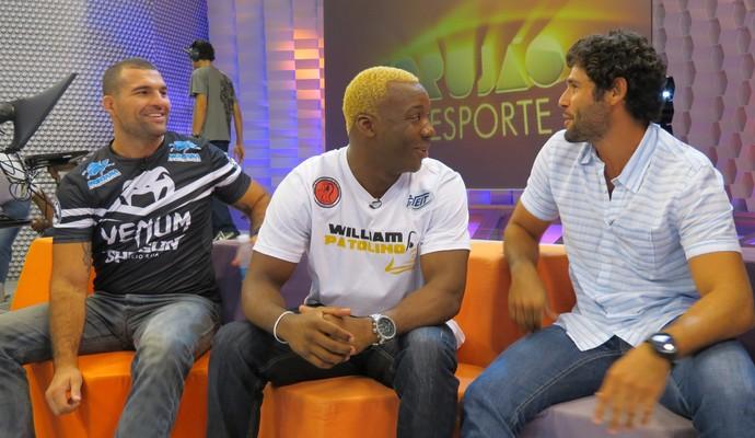 Shogun, Patolino e Dudu Azevedo no Corujão do Esporte (Foto: Daniel Cardoso)