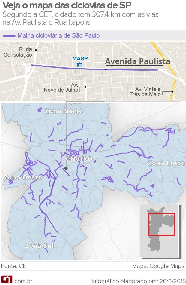 Mapa das ciclovias de São Paulo (Foto: Editoria de Arte/G1)