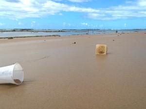 Lixo dosméstico permanece abandonado na areia em praia de Maceió (Foto: Waldson Costa / G1)