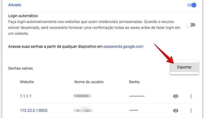 Exportando senhas do Chrome (Foto: Reprodução/Helito Bijora)
