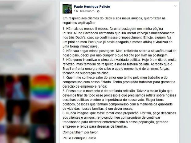 Empresário fez postagem esclarecendo motivos pelos quais decidiu não cumprir promessa (Foto: Reprodução/Facebook)