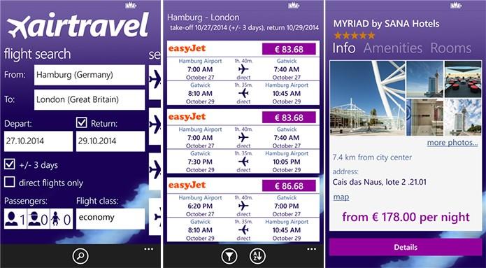 Airtravel é um aplicativo para Windows Phone onde usuário pode pesquisar passagens (Foto: Divulgação/Windows Phone Store)